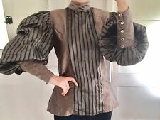 Incredible Vintage 1980s Silk Pancaldi High Neck Full Puffed Sleeve Blouse