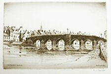 "Antique Original Etching by James Macintyre - The ""Auld Brig"" Dumfries"