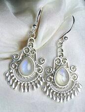 Mondstein Ohrhänger 925 Silber blaue Edelstein Tropfen orientalisch edel neu