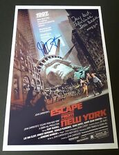 """JOHN CARPENTER +BARBEAU Hand-Signed """"ESCAPE FROM NEW YORK"""" 11x17 Photo (PROOF)"""