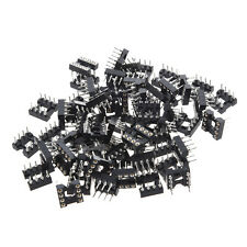 60 Pcs Plastic Metal Black 8 Round Pin 2.54mm Pitch DIP Ic Adaptor Sockets AD