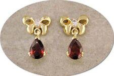 18 KT GOLD OVER STERLING SILVER GARNET & DIAMOND EARRINGS