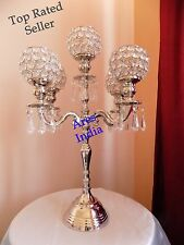 "19"" 5 Arm Crystal Candelabra Wedding Centrepieces Votive Tealight Candle Holder"