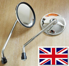 Royal Enfield CHROME UNIVERSAL MOTORCYCLE MIRRORS MOTORBIKE SIDE PAIR-144MKB