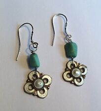 Vintage Norway - stg silver gilt enamel & turquoise earrings w new silver wires