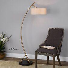 """68"""" CURVED METAL FLOOR LAMP BRUSHED BRASS BLACK BASE ADJUSTABLE READING LIGHT"""