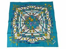 Auth Excellent HERMES Scarf 100% Silk Petite main Blue Multi-Color 34534