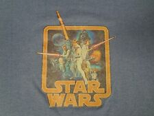 VINTAGE STAR WARS IV A NEW HOPE MOVIE PROMO GRAPHIC SMALL BLUE T-SHIRT A404