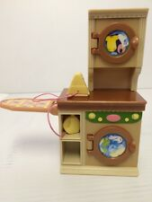 Fisher Price Loving Family Dollhouse Tan Laundry Washer Dryer Iron Ironing Board