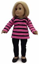 "Pink & Black Ruffled Top & Leggings made to fit 18"" American Girl Doll Clothes"