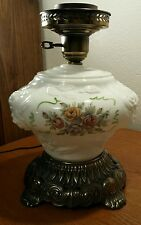 Vintage Fenton White Glass Rose Pattern Table Lamp