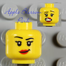 NEW Lego Female Girl MINIFIG HEAD w/Minifigure Red Lips Smile Movie/Police/Agent