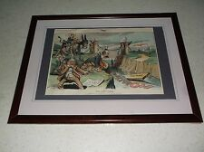 RARE 1904 JUDGE POLITICAL CARTOON FRAMED SIGNED DALRYMPLE TITLED THE LOST PLANK