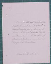 Faire-Part Mariage Duhamel Massenet Commandant Gendarmerie Haute Marne 1878