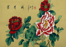 "Chinese silk painting Peony birds flowers 15x11"" traditional feng shui brush art"