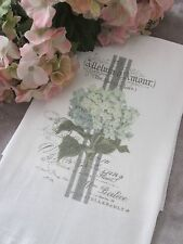 ~ Beautiful Hydrangea French Script Tea Towel FRENCH Inspired Kitchen DECOR ~