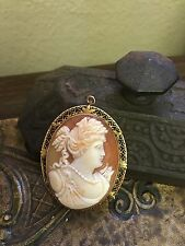 VICTORIAN ANTIQUE CAMEO HAND CARVED PIN AUTHENTIC PERIOD SHELL JEWELRY GOLD 14K