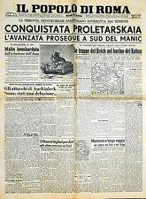 """"""" IL POPOLO DI ROMA """" N°212 di Venerdì 31.LUG.1942 ( ORIGINALE D'EPOCA ! )"""