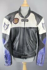 WOLF BLACK, WHITE & BLUE LEATHER BIKER JACKET WITH BACK & ELBOW PROTECTORS 40 IN