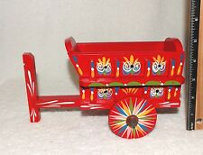 Costa Rica Folk Art Hand Painted Miniature Wood Wagon Donkey Cart 2 pieces-Red