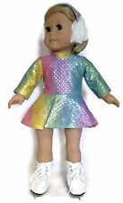 "Rainbow Sequin Skating Dress & Earmuffs made for 18"" American Girl Doll Clothes"