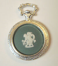 "Wedgwood Cameo ""Pocket Watch"" Style Pendant- ""Cupid"" Green Jasperware"