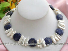 """17.5"""" 12mm nature coin lapis white biwa pearl necklace  HK/22---113"""