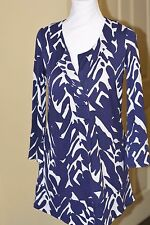 Diane von Furstenberg vintage DvF blue/white silk dress/long top, size 4