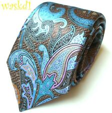 ERMENEGILDO ZEGNA Limited Edition QUINDICI brown blue PAISLEY silk Tie NIB Auth