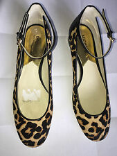 BRAND NEW Michael Kors Esther leopard-print calf hair Mary Jane flats. Size 8M