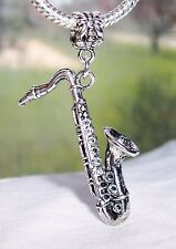 Saxophone Music Musical Instrument Band Dangle Bead for European Charm Bracelet