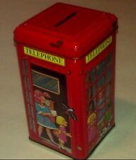 Vintage Telephone Booth Tin Piggy Bank