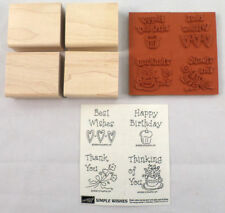 Stampin Up Simple Wishes Set Of 4 Thank You Best Wishes Happy Birthday Unmounted