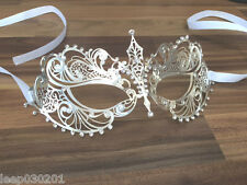 Venetian Masquerade Mask Metal Silver Filigree Diamonte Ball Prom Party Disco