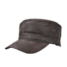 Distressed Genuine Leather Hat Army Cadet Military Baseball Cap Hats Vintage