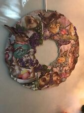 Primitives by Kathy Vintage Post Card Easter Glitter Wreath Sign NWT