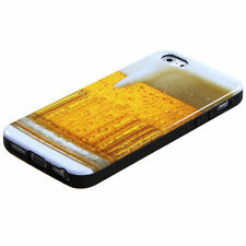 For iPhone SE 5S - CANDY SKIN FLEX GEL SILICONE RUBBER CASE YELLOW BEER ALCOHOL