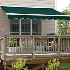 ALEKO Retractable Patio Awning 13 X 10 Ft Deck Sunshade Canopy Green Color