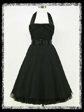 dress190 BLACK HALTER 50s ROCKABILLY RETRO COCKTAIL PROM VINTAGE DRESS 22-24