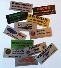 Racing Motorsport Alu Plakette Aufkleber LIMITED EDITION für Motorrad oder Auto