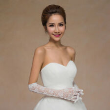 New Sexy Lace Ivory Elbow Bridal Gloves Wedding Prom Party Full Fingers Gloves