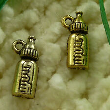 Free Ship 100 pieces gold plated baby's bottle charms 17x7mm #2511