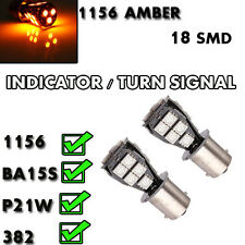 2 X 1156 18SMD LED XENON TURN SIGNAL INDICATOR BULBS P21W 382 BA15S AMBER ORANGE