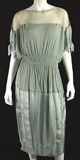 DONNA KARAN Harvest Gold Mesh & Seafoam Satin Smocked-Waist Dress L