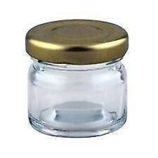 120 X 30ml, small 1oz, 28g MINI GLASS JARS WITH GOLD LIDS marmalade jam preserve