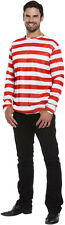 Mens Red/White Striped Jumper Wally Fancy Dress Costume One Size