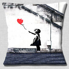 "Banksy Graffiti Artist Girl Red Balloon 'There is Hope' 16"" Pillow Cushion Cover"