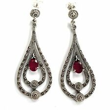 STERLING SILVER HALLMARKED ART DECO RUBY MARCASITE DROPLET EARRINGS