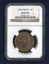 FRANCE NAPOLEON III 1853-A 10 CENTIMES COIN UNCIRCULATED, NGC CERTIFIED MS-65-RB