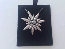 "C1 Large Edelweiss on a 925 sterling silver Necklace Handmade 16"" chain"